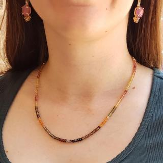 Beaded Sapphire and Garnet Necklace