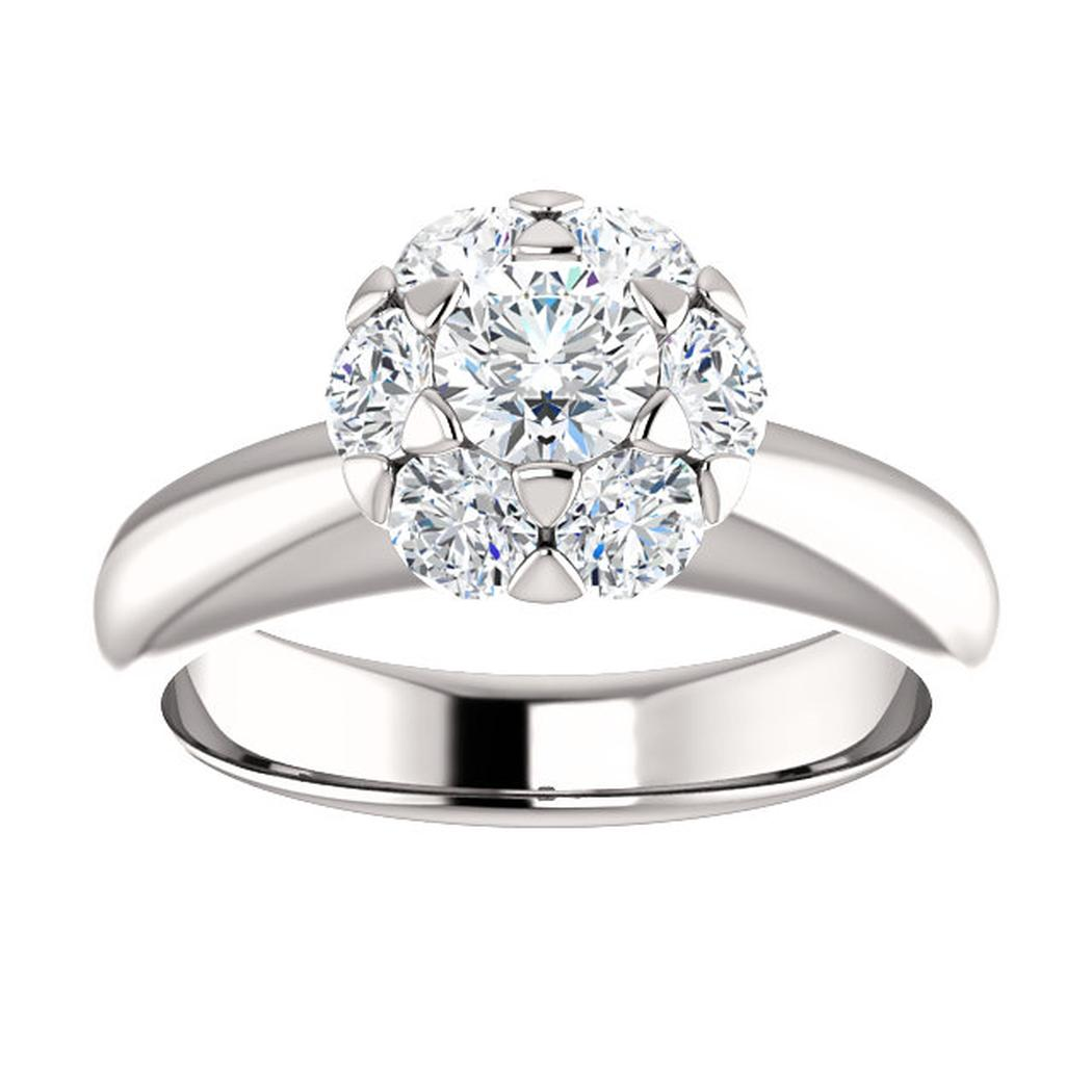 14K White Round Center .72 ct Cluster-Style Engagement Ring Mounting