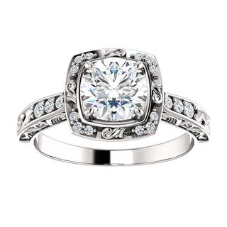 14kt Round Sculptural-Inspired Halo-Style Engagement Ring Mounting