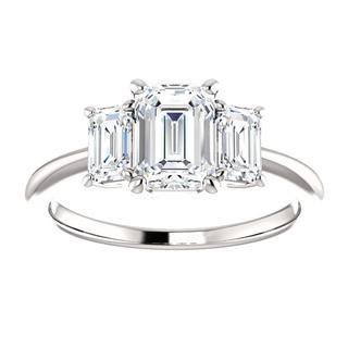 14K White Three Stone Emerald .90 ct Engagement Ring Mounting