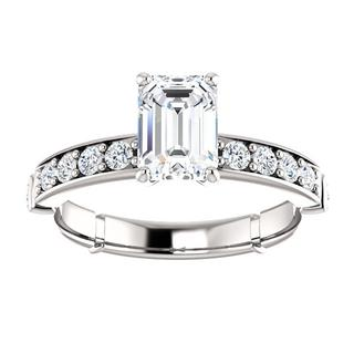 14kt White Emerald Accented .50ct Engagement Ring Mounting
