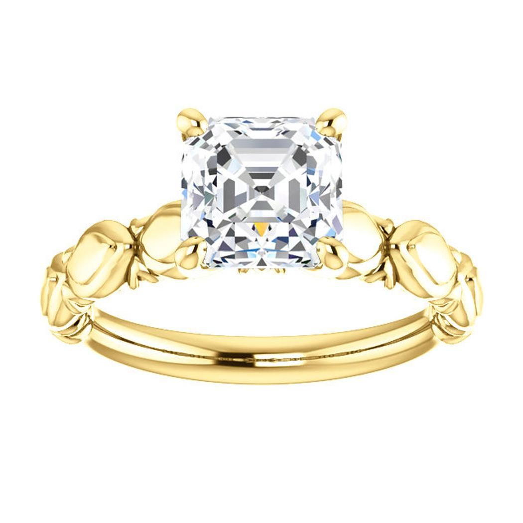 14K Yellow Solitaire Round Sculptural-Inspired Engagement Ring Mounting