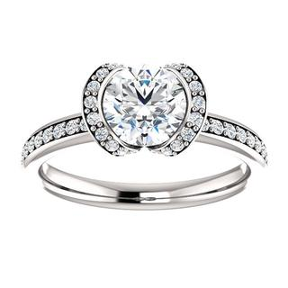 14KT Round Bezel-Set Halo-Style Engagement Ring Mounting