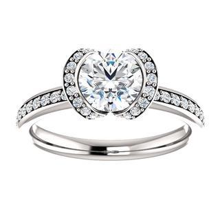 14KT Round Bezel-Set Halo-Style Engagement Ring Mounting