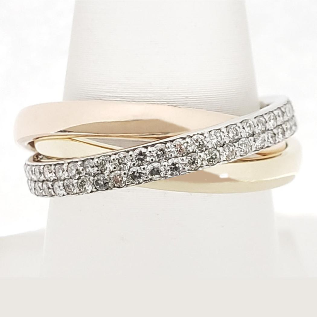 Tri-Tone Diamond Rolling Ring