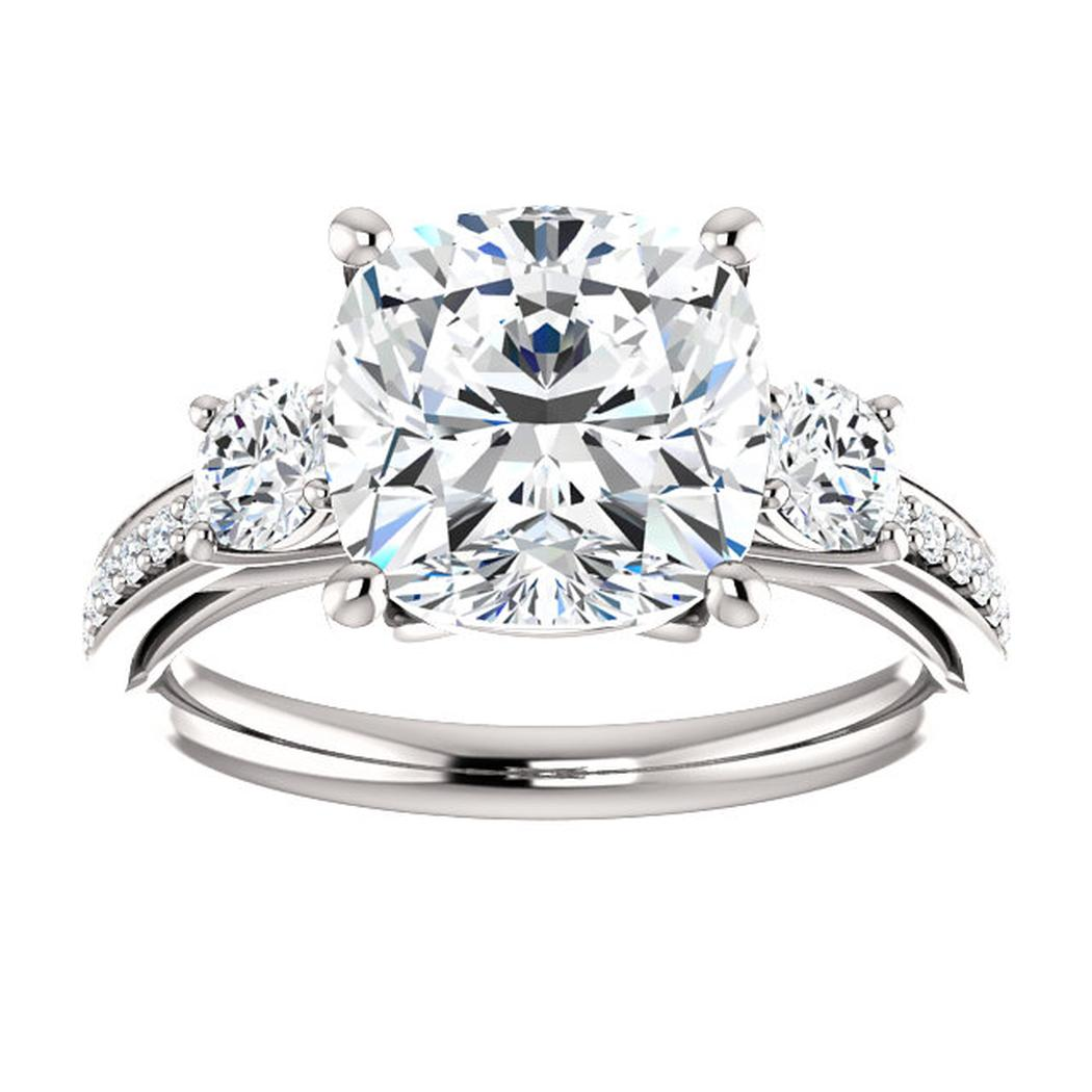 14K White Three Stone .75 ct Engagement Ring Mounting