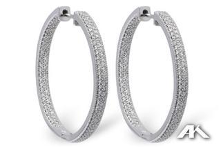Diamond Inside Out .98 ct Hoop Earrings