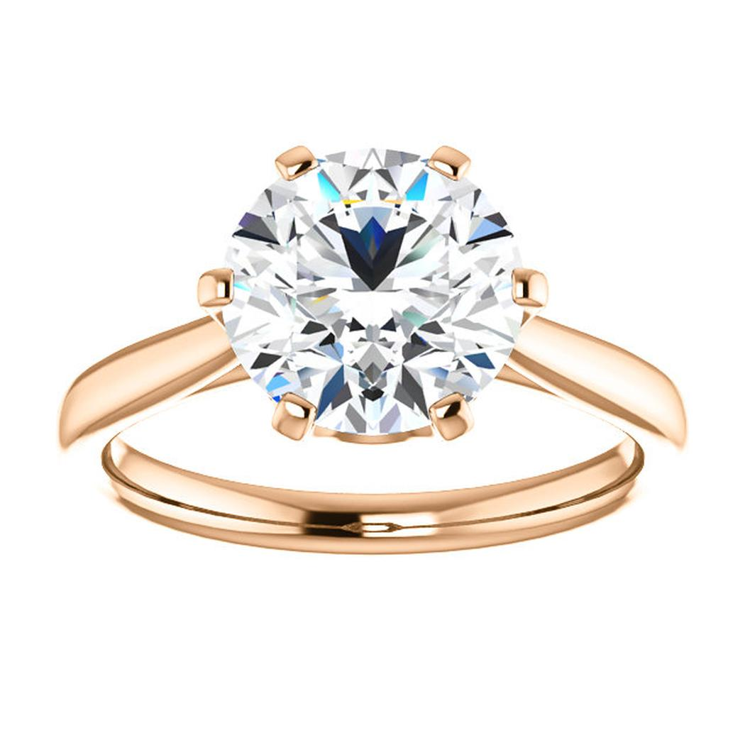 14K Rose Solitaire Engagement Ring Mounting