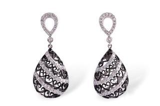 Diamond and Black Rhodium Dangle Earrings