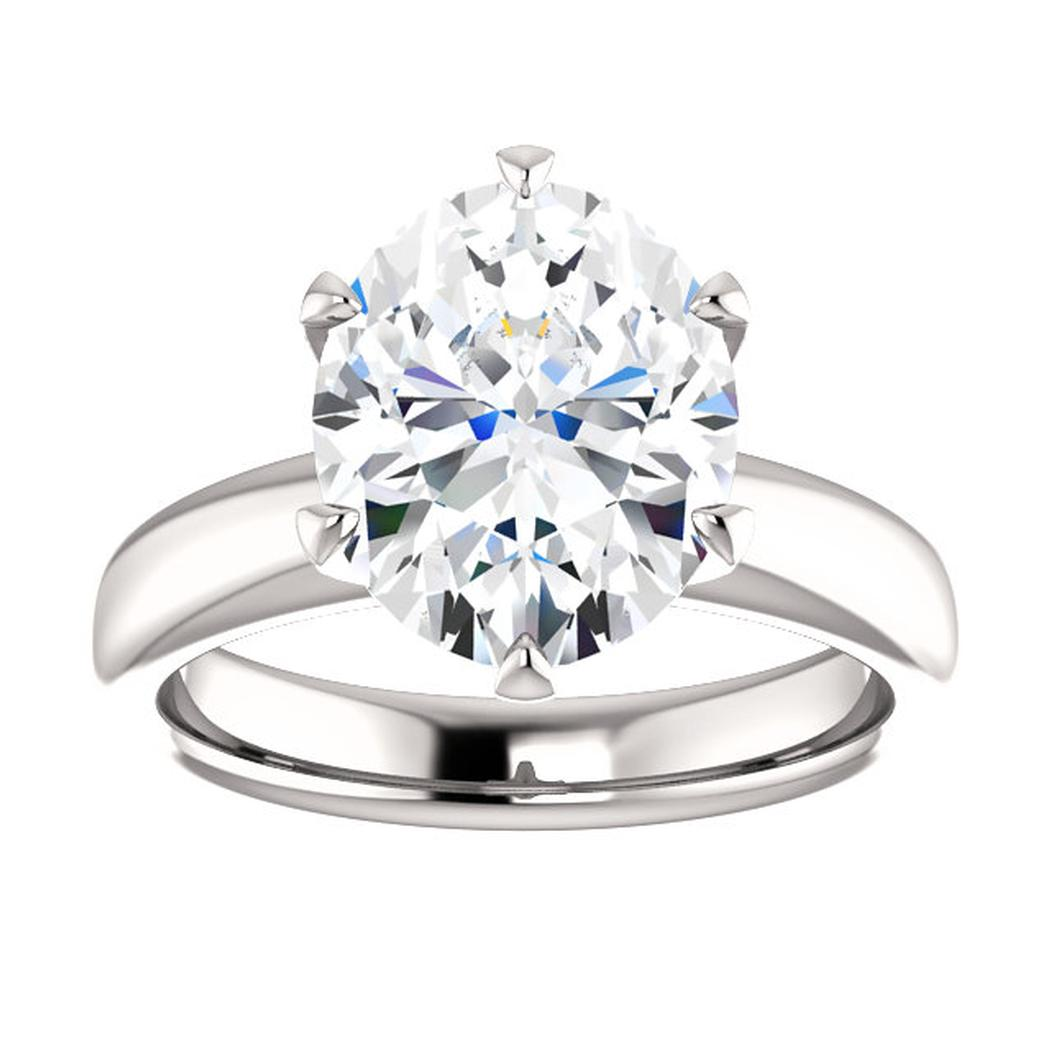 14kt White Solitaire Engagement Ring Mounting