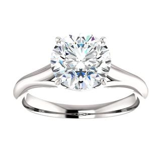 14kt White Diamond Solitaire Engagement Ring Mounting