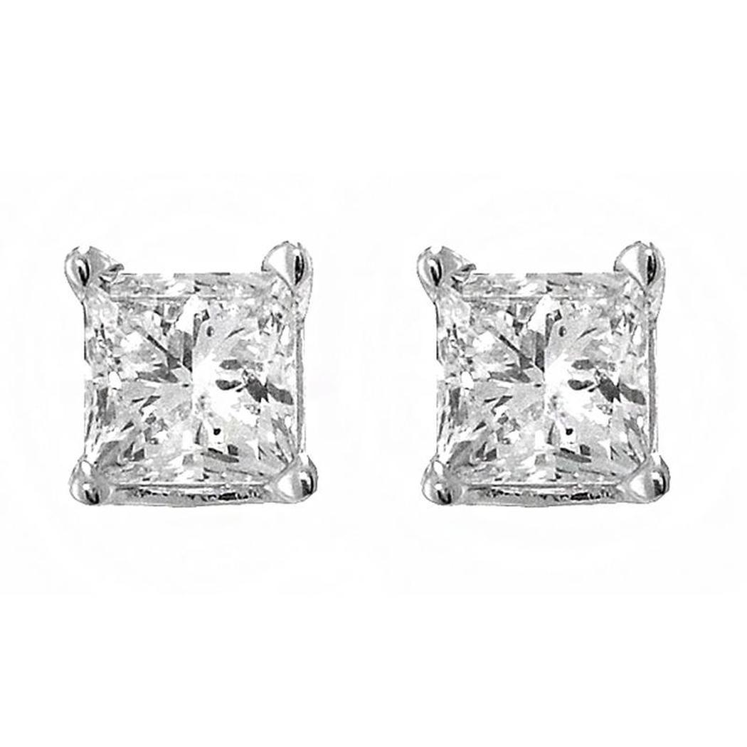 20 ct princess cut diamond stud earrings. Black Bedroom Furniture Sets. Home Design Ideas