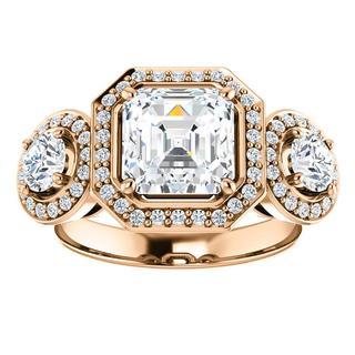 14K Rose Three-Stone Halo-Style Engagement Ring Mounting