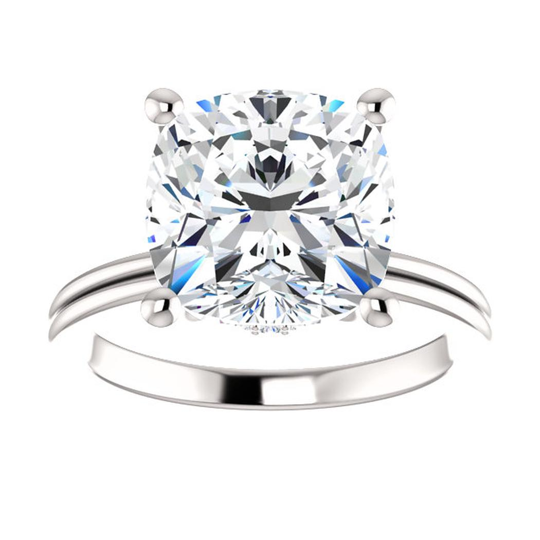 14kt White Diamond Accented Solitaire Engagement Ring Mounting