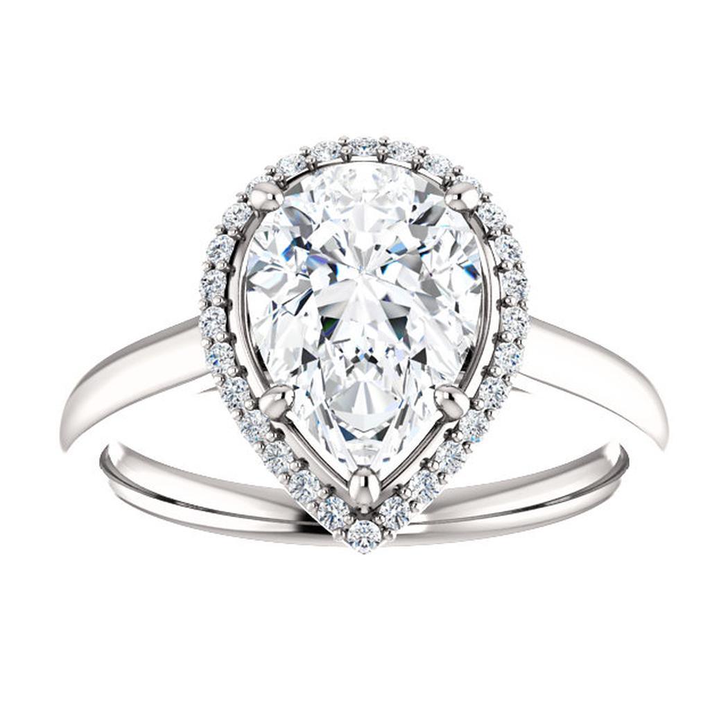 14kt White Halo-Style Engagement Ring Mounting
