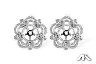 Floral .16ct Diamond Earring Jackets