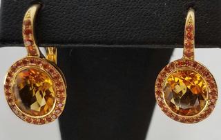 Citrine and Orange Sapphire Halo Earrings