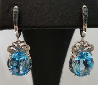 Diamond and Blue Topaz Dangle Earrings