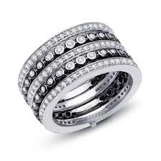 Lafonn Simulated Diamond Black and White Multi-Row Ring
