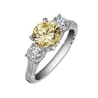Lafonn Simulated Yellow and White Diamond Three Stone Ring