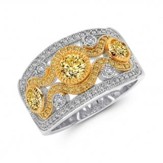 Lafonn Wide Simulated Diamond Two-Tone Ring