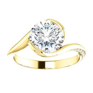 14KT Yellow Round Curved Accented Engagement Ring Mounting