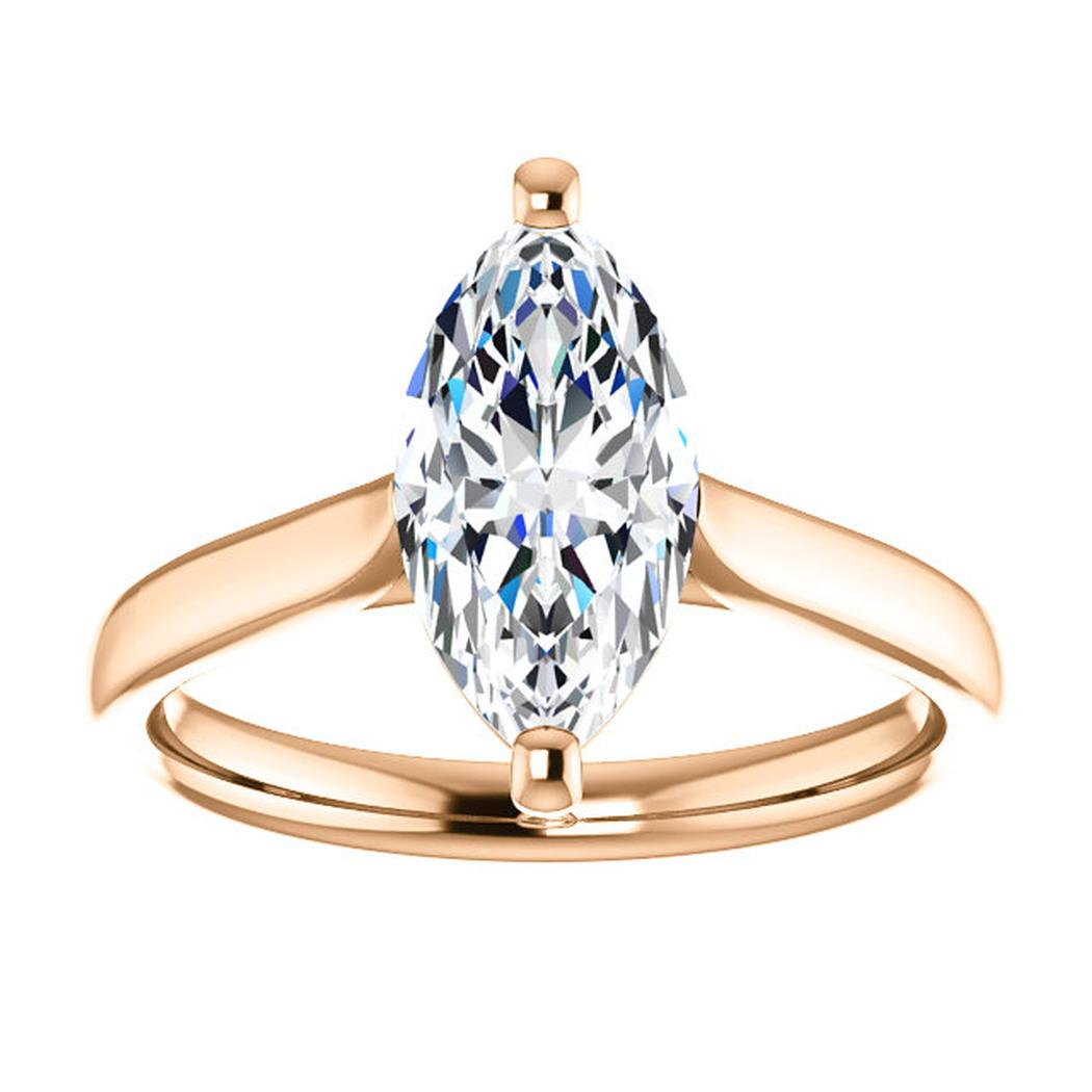 14kt Rose Solitaire Engagement Ring Mounting