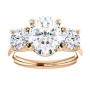 14kt Rose Three Stone 1.00 ct Diamond Engagement Ring Mounting