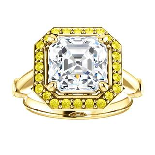 14kt Yellow Halo .22 ct Diamond Engagement Ring Mounting
