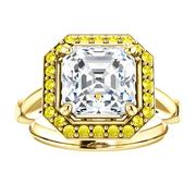 14kt Yellow Halo .22 ct Diamond Engagement Ring Mounting