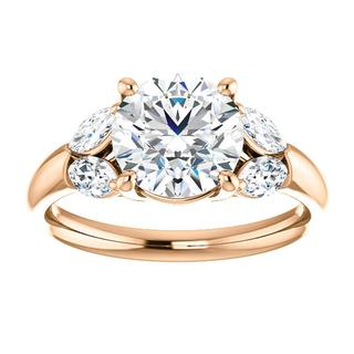 14kt Rose Diamond Accented Engagement Ring Mounting