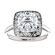 14kt White Vintage-Inspired Halo-Style Engagement Ring Mounting