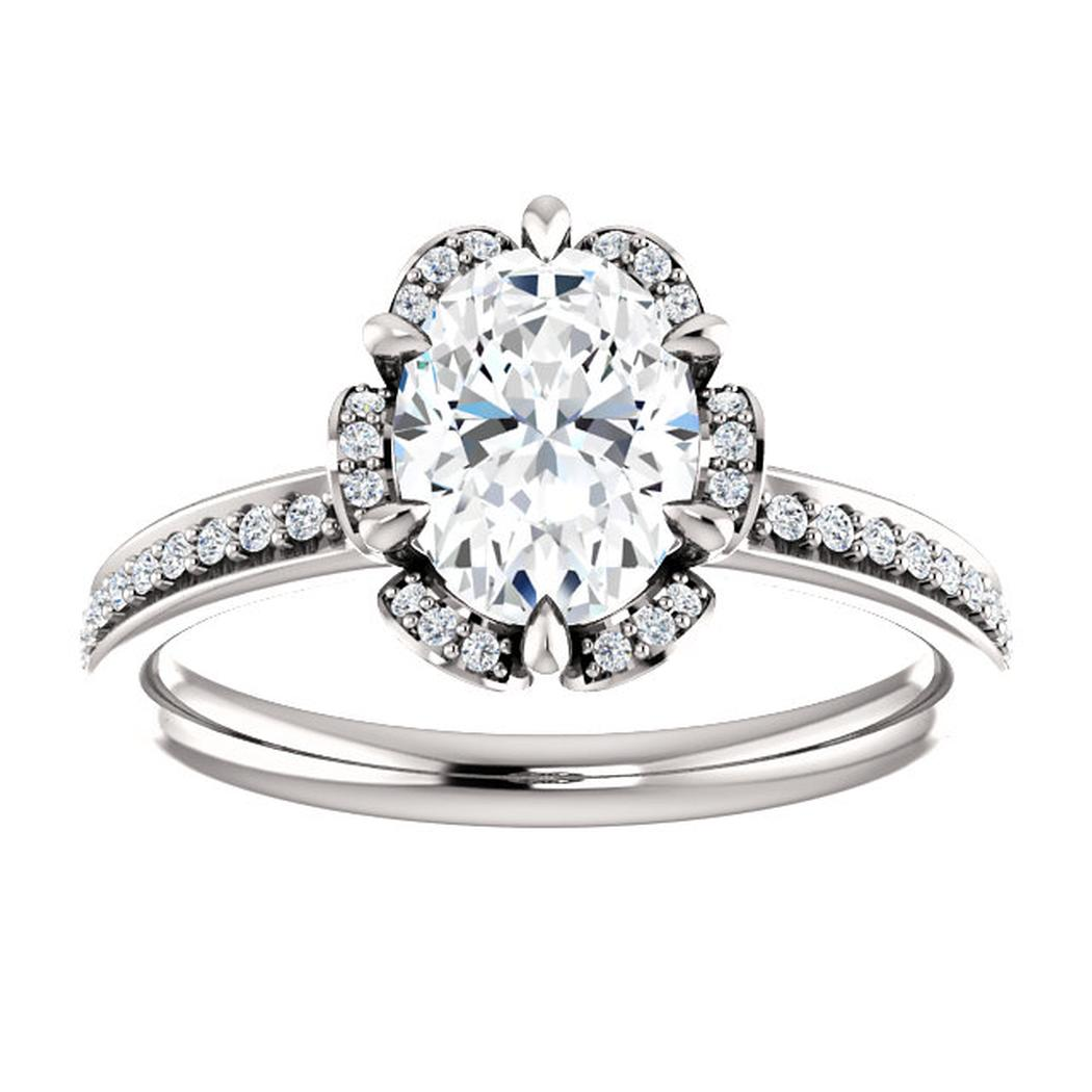 14kt White Floral Inspired Diamond Halo Engagement Ring Mounting