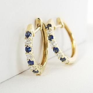 14K Yellow Gold Diamond and Sapphire Hoop Earrings