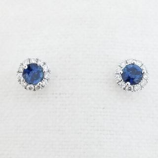 14K White Gold Sapphire and Diamond Stud Earrings