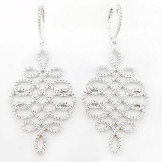 18K White Gold Woven Design Diamond Earrings