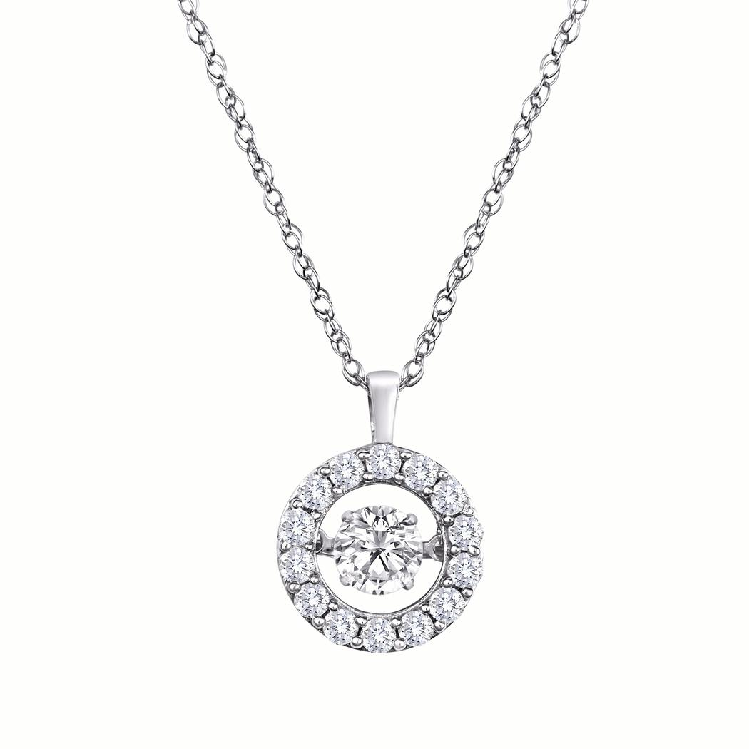 14kt White Diamond Heartbeat Halo 1 00 ct Necklace