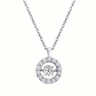 14kt White Diamond Heartbeat  Halo 1.00 ct Necklace