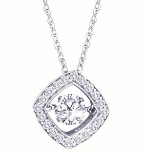 10kt White Diamond Heartbeat .25 ct Necklace