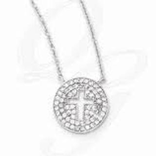 Sterling Silver Cubiz Zirconia Cross Cut Out Necklace