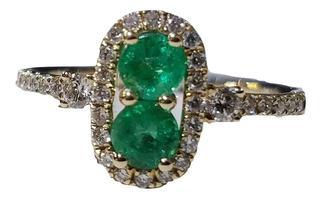 14kt Yellow Emerald and Diamond Fashion Ring