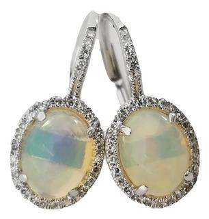 Opal and Diamond Halo Leverback Earrings