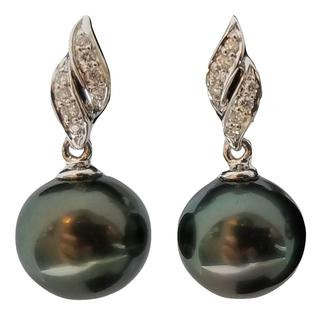 Diamond and Tahitian Pearl Cascade Earrings