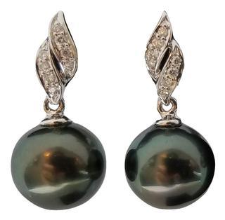 Diamond and Tahitian Pearl Cascade Earrings