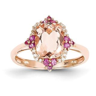 14kt Rose Morganite Halo Ring with Pink Sapphires and Diamonds