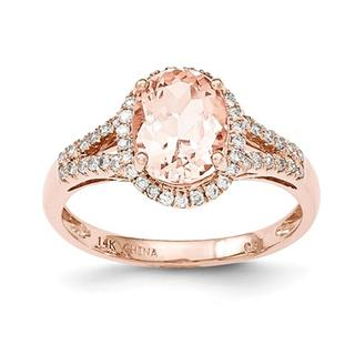 14kt Rose Morganite and Diamond Split Shank Ring