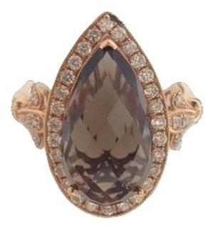 14kt Rose Smoky Topaz and Diamond Halo Ring