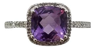 14kt White Amethyst and Diamond Halo Ring