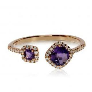 14kt Rose Off-Set Amethyst Halo Ring