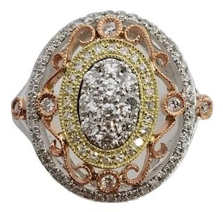 14kt Tri-Toned Oval Diamond Filigree Ring